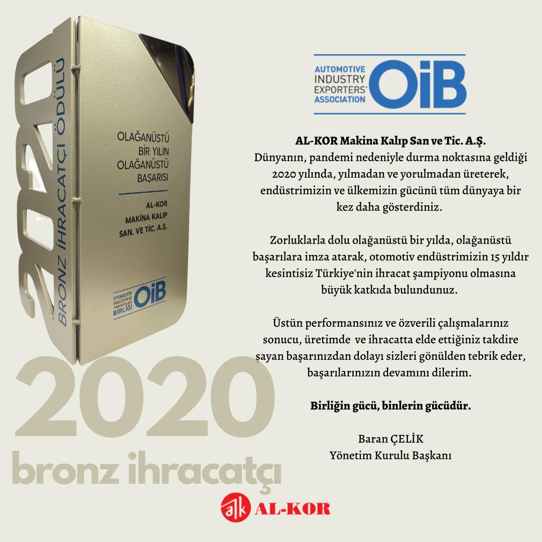 Bronz İhracatçı Ödülü AL-KOR'un